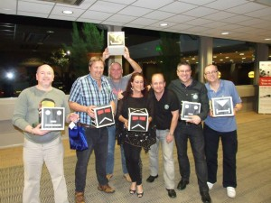 The winning team from the TV Dinners quiz collect their prizes!