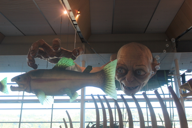 Wellington Airport – a giant Gollum fishing above the food court.