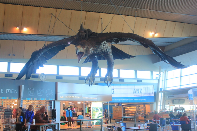 "Wellington Airport – there used to be two of these eagles soaring above the food court. That was until a 6.2 earthquake in Cook Strait on the 20th January 2014. Then the ""unmanned"" one fell, fortunately not hitting anyone. The remaining eagle, Gollum and the fish have all been tethered more securely since then."