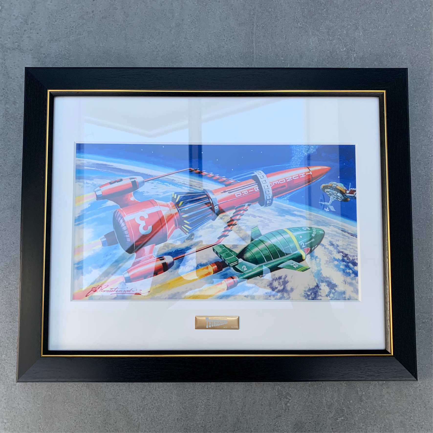 Framed print of Thunderbirds 2 and 3 artwork for Imai's model kit
